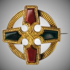 Antique Scottish agate, bloodstone, and solid 14k yellow gold engraved Maltese cross pin or pendant