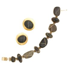 Vintage 1980s designer Sam Shaw beachstone collection 22k gold mixed metal bracelet and disc earring set natural bohemian jewelry set