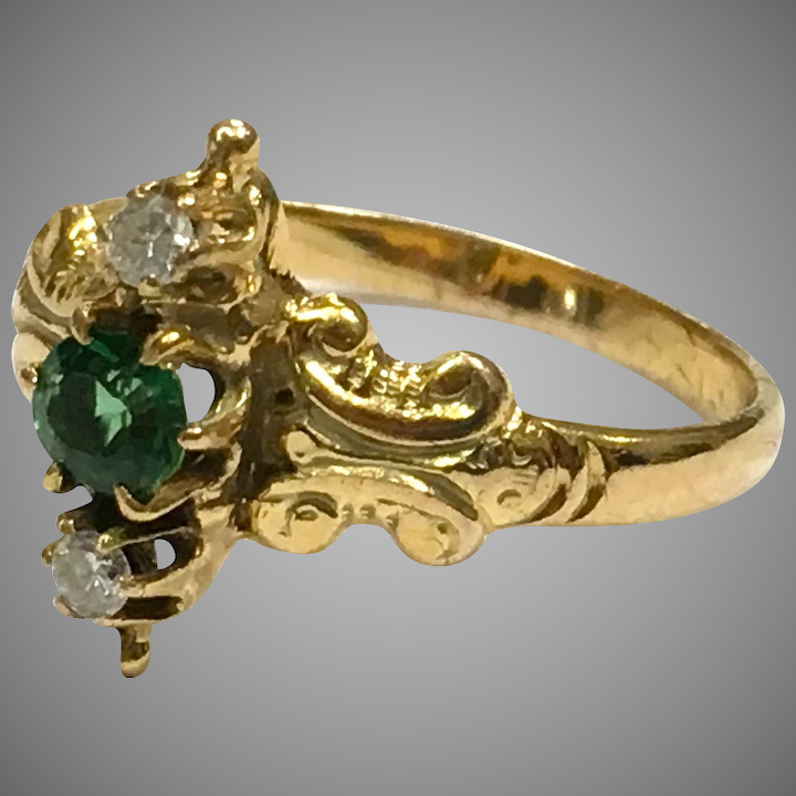 0aee95af6c Antique Victorian 18K yellow gold green spinel diamond ring with : Malena's Vintage  Boutique | Ruby Lane
