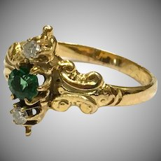 Antique Victorian 18K yellow gold green spinel diamond ring with makers mark