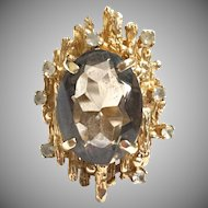 Vintage 1960s 10 karat yellow gold smoky topaz modernist ring with white sapphire stones.