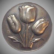 "Beautiful Vintage Signed Dutch Bronze ""GV"" stamped Tulip Brooch"
