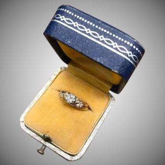 Vintage yellow gold and Diamond nested engagement ring and wedding band set bridal set, nesting ring