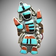 Vintage Zuni sterling silver turquoise coral onyx Rainbow Man ring southwestern jewelry
