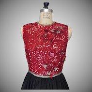1970s Designer Richilene New York Paris Red Sequined Evening Dress