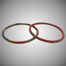 Vintage 1960s Cinnabar Carved Bangle Bracelets with Enamel Accents
