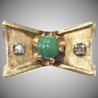 1940s Unique 14k Yellow Gold Diamond and Green Turquoise Bow Motif Ring