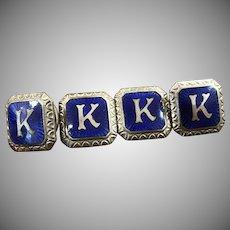 "Antique blue guilloche enamel ""K"" ladies or men's snap lock cufflinks"