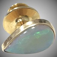 Incredible 1960s Vibrant Opal Teardrop Men's Tie Tack in 14 karat Yellow Gold