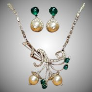 Rare Elsa Schiaparelli clear rhinestone, pearl, and emerald green necklace and drop earring set
