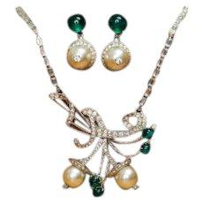 Rare Elsa Schiaparelli clear rhinestone, pearl, and emerald green necklace and drop earring set