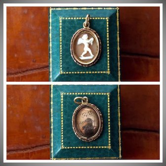 """Antique Victorian 10k yellow gold Cupid Angel cameo pendant with """"God Protects You"""" Gott Schütze Dich"""" in German engraved on the back"""