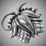 Vintage Sterling Silver Viking Craft Large Acacia Blossom Pin