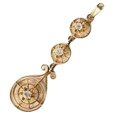 Antique Victorian 10k Yellow Gold Lavalier Circular 3 Tiered Pendant with Clear Stones
