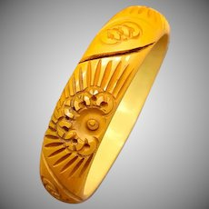 Abstract Floral Carved 1930s 1940s Butterscotch Yellow Bakelite Bangle Bracelet