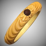 Rare Carved 1930s Butterscotch Yellow Bakelite Bangle with Ridged Texture