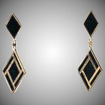 Plumb 14k Gold and Black Onyx Geometric Diamond Art Deco Revival Style Earrings