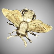 Signed designer M Buccellati 18k solid yellow gold 750 bumble bee clip pin Italy