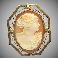 Vintage 14k Yellow Gold Framed Cameo Pin or Pendant