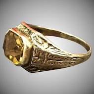 Antique Etched 14k Yellow Gold Emerald Cut Citrine Ring