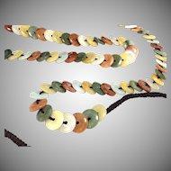 Vintage, antique Jade Stone multicolor crochet belt or necklace