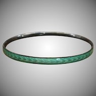 Vintage Mint Green Guilloche Enamel and 925 Sterling Silver Bangle Bracelet Stackable Bracelet