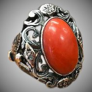 Austro Hungarian Sterling Silver Rose Gold Red Coral Cabochon Renaissance Revival Antique Ring