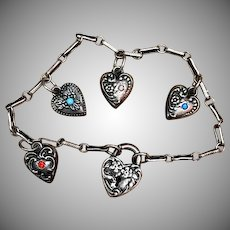 Antique Victorian Sterling Silver Puffy Heart Repousse Charm Bracelet