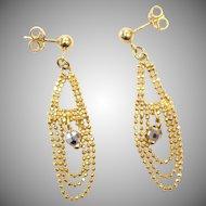 Vintage 1970s 14k Everyday Dangle Gold Earrings