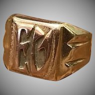1920s Art Deco Solid 18k Rose Gold and Yellow Gold Initial Ring EV or EU