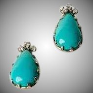 Vintage Fine 14k white gold diamond and bezel set turquoise teardrop post earrings
