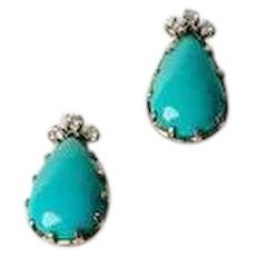 Vintage Fine 14k white gold diamond and bezel set turquoise teardrop post earrings
