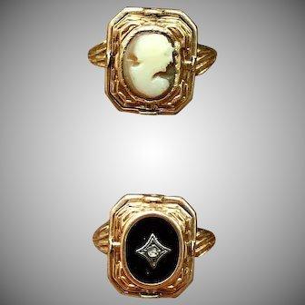 Unique Vintage Rare Onyx Diamond 10k Gold Cameo Flip Ring by Esemco
