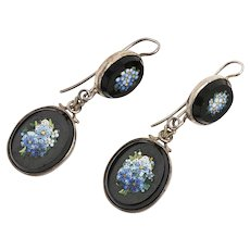 Victorian mourning silver forget-me-not micro mosaic and glass pierced earrings