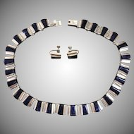 Vintage Taxco Mexico Lapis Lazuli and Sterling Silver Articulated Necklace and Earring Set