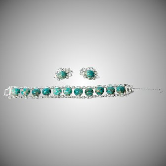 Vintage 1960's marbled glass turquoise cabochon and clear marquis rhinestone bracelet & clip on earring set