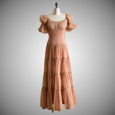 Handmade 1940s Sheer Brown Nylon Ruched Peasant Top Evening Gown