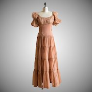 Vintage handmade 1940s 1940's brown sheer nylon ruched peasant top evening gown dress with flowing skirt