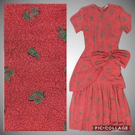 Designer Lora Lenox 1940s Red Orange Rayon Musician Novelty Printed Day Dress