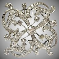1940s 14k white gold large Pendant or Pin with 3.82 carats of diamonds