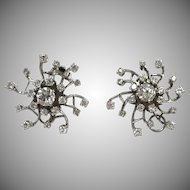Vintage 1940s Diamond 14k white gold starburst clip on earrings with almost 3 carats
