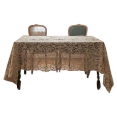 """Wedding table overlay decor of Antique Reticella lace rectangle 62"""" x 102"""" great for a Chuppah"""