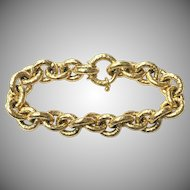 Vintage 1980s signed OWC Italy 18k gold yellow gold chain link bracelet