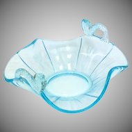 Vintage Pale Blue Stretch Glass Pedestal Bowl with Fish Accents and Floral Etching