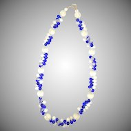 Vintage 1920s Glass Bead Necklace with Cobalt Blue and Clear Frosted Beads