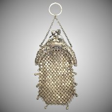 Antique Sterling Silver Engraved Chain Mail Coin Chatelaine Purse
