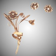 Vintage 1930s 10k Rose Gold and Pearl Floral Brooch with Matching Flower Earrings