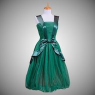 Vintage 1960s Deep Hunter Green Poly Chiffon Ribbon Party Dress