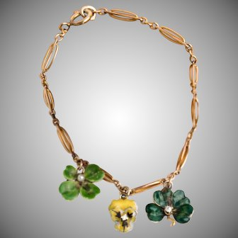 Conversion bracelet of watch chain and 14k gold and enamel clover and pansy charms with diamond