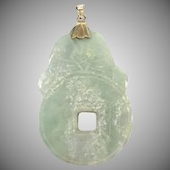 Vintage Carved Pale Jade Pendant with Chinese Characters and 14 K Yellow Gold Bail